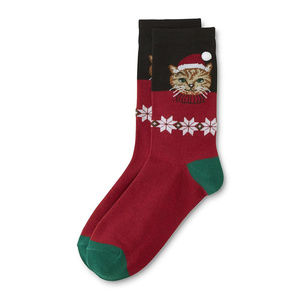 Women's Xmas Crew Socks- Santa Cat